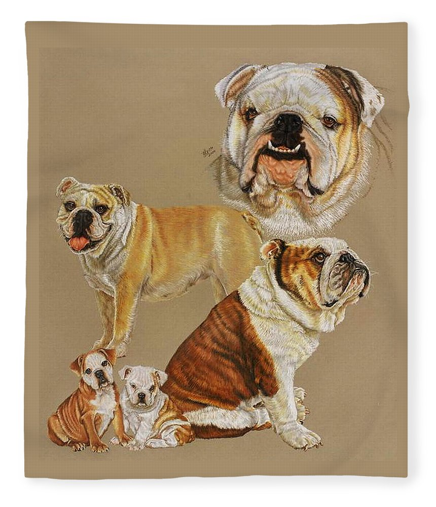 Purebred Fleece Blanket featuring the drawing English Bulldog by Barbara Keith