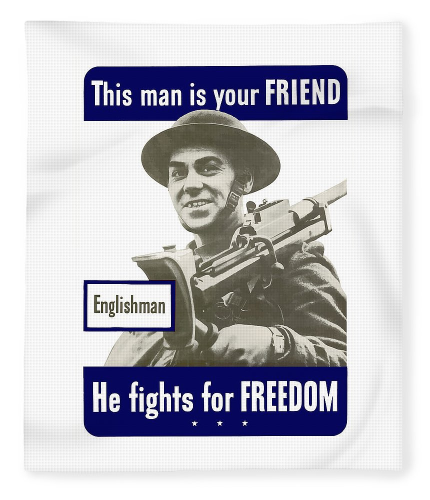 English Army Fleece Blanket featuring the painting Englishman - This Man Is Your Friend by War Is Hell Store