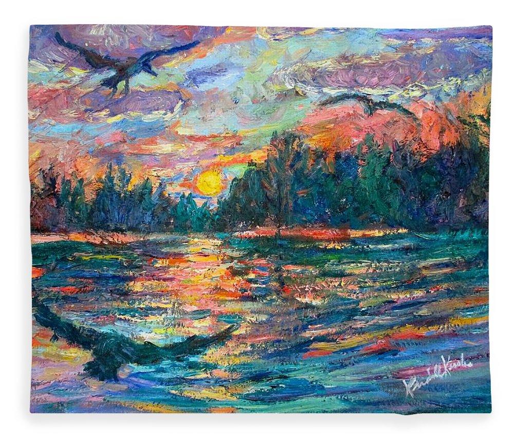 Landscape Fleece Blanket featuring the painting Evening Flight by Kendall Kessler