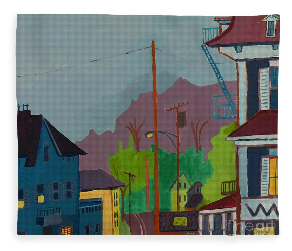 Town Fleece Blanket featuring the painting Evening in Town Chelmsford MA by Debra Bretton Robinson