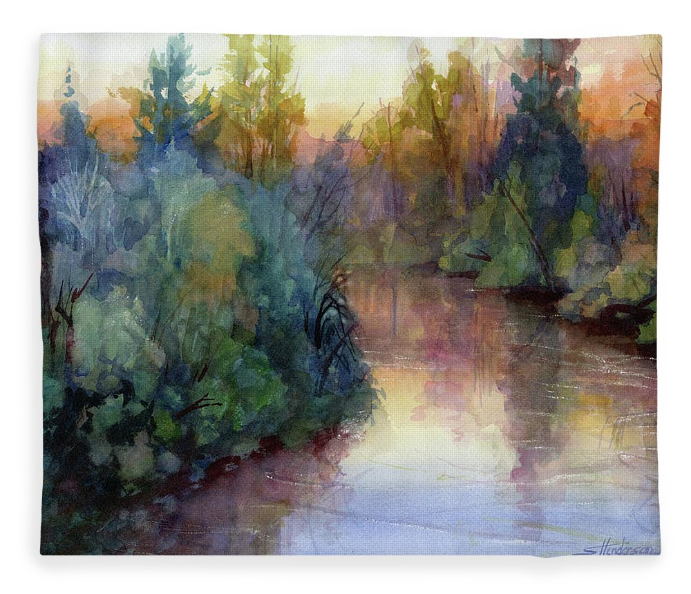 Water Fleece Blanket featuring the painting Evening on the Willamette by Steve Henderson