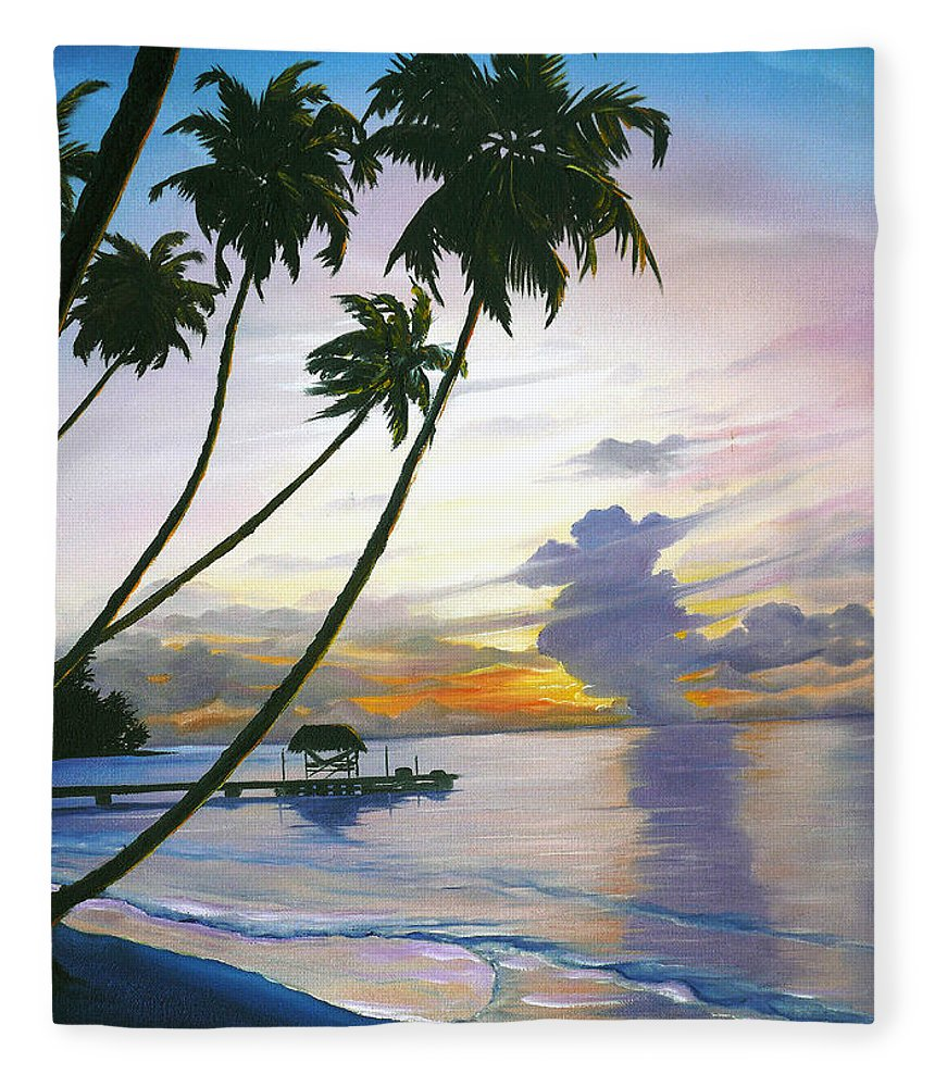 Ocean Painting Seascape Painting Beach Painting Sunset Painting Tropical Painting Tropical Painting Palm Tree Painting Tobago Painting Caribbean Painting Original Oil Of The Sun Setting Over Pigeon Point Tobago Fleece Blanket featuring the painting Eventide Tobago by Karin Dawn Kelshall- Best