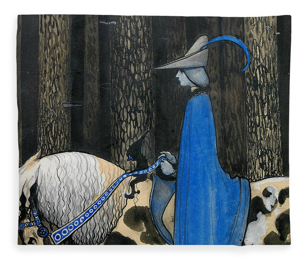 Swedish Art Fleece Blanket featuring the painting Every Now And Then The Plot Took The Reigns by John Bauer