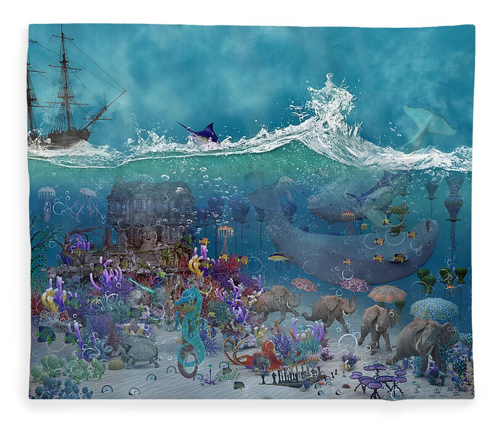 3d Fleece Blanket featuring the digital art Everything Under The Sea by Betsy Knapp