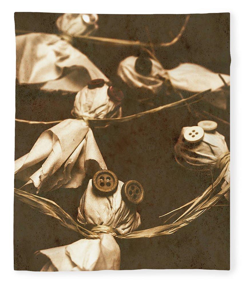Evil Fleece Blanket featuring the photograph Evil B-grade Horror Dolls by Jorgo Photography - Wall Art Gallery
