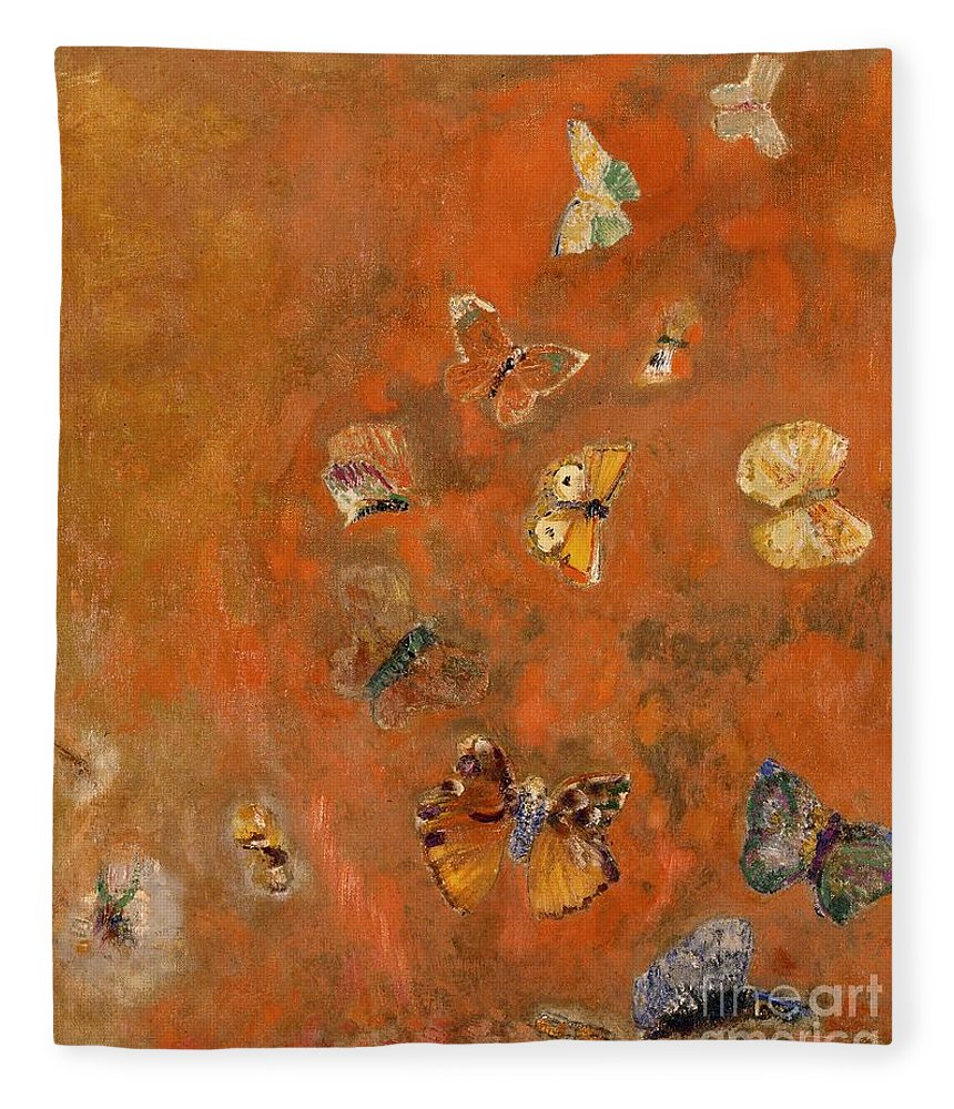 Evocation Fleece Blanket featuring the painting Evocation of Butterflies by Odilon Redon