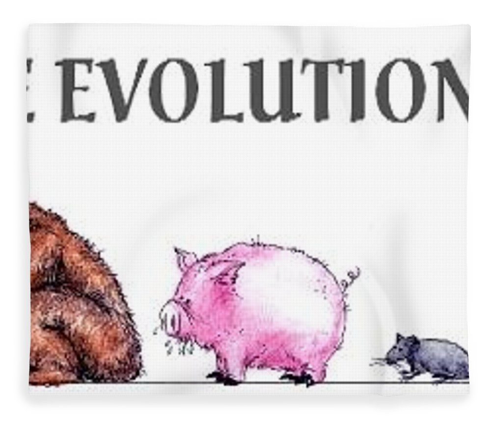 Humor Get Even Fleece Blanket featuring the drawing Evolution by Bruce Lennon
