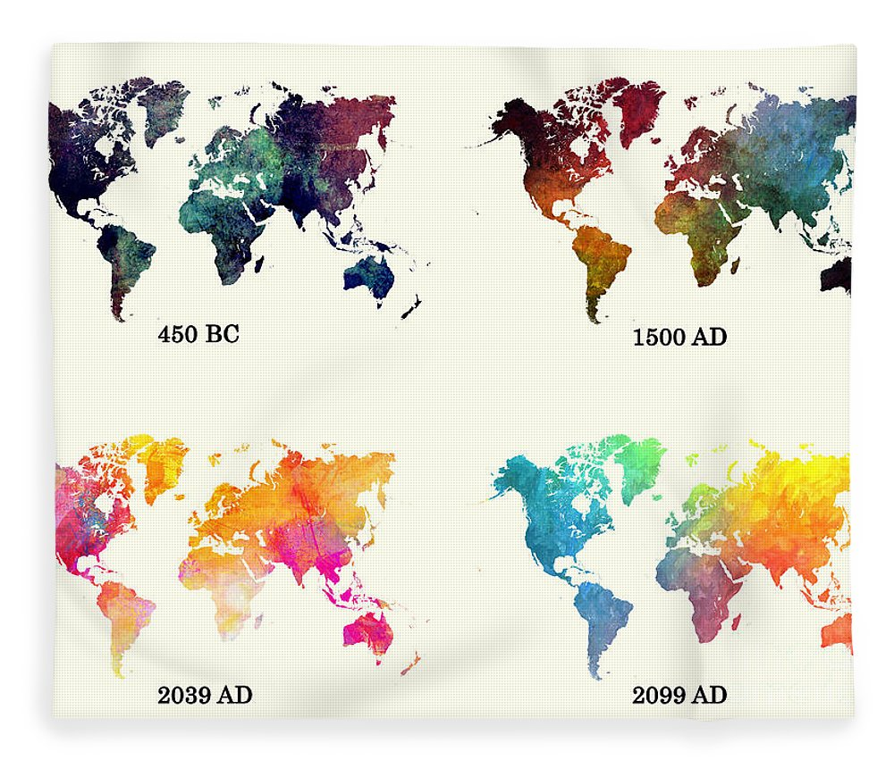Evolution of the world map fleece blanket for sale by justyna jbjart map of the world fleece blanket featuring the digital art evolution of the world map by gumiabroncs Images