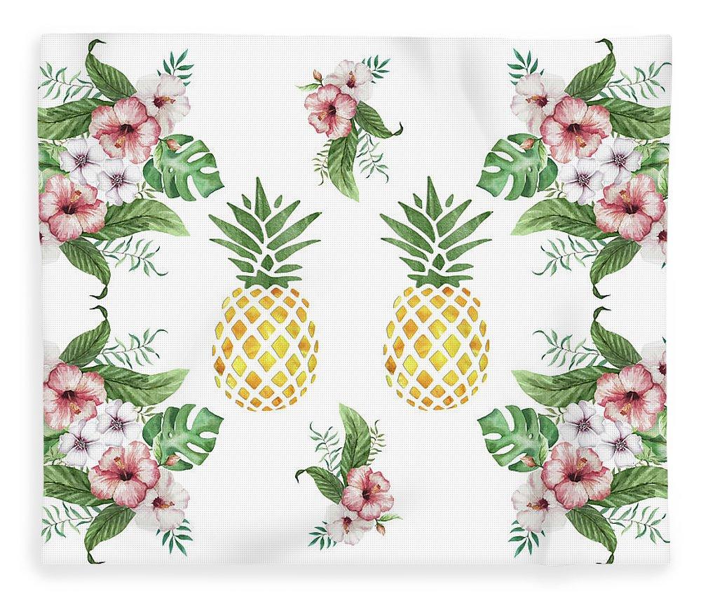 Exotic hawaiian flowers and pineapple fleece blanket for sale by tropical flowers fleece blanket featuring the painting exotic hawaiian flowers and pineapple by georgeta blanaru izmirmasajfo Images