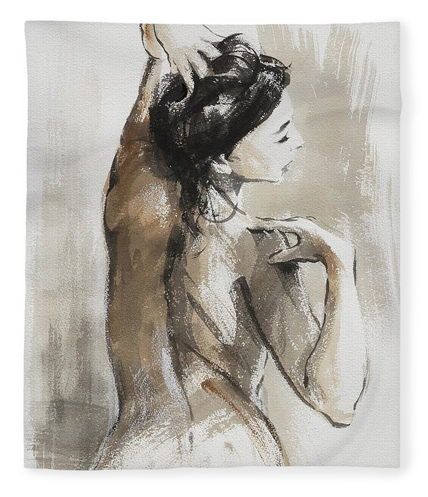 Woman Fleece Blanket featuring the painting Expression by Steve Henderson