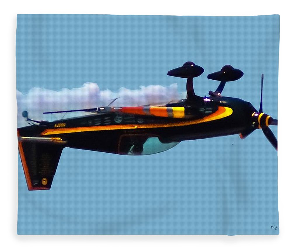 300s Fleece Blanket featuring the digital art Extra 300s Stunt Plane by DigiArt Diaries by Vicky B Fuller