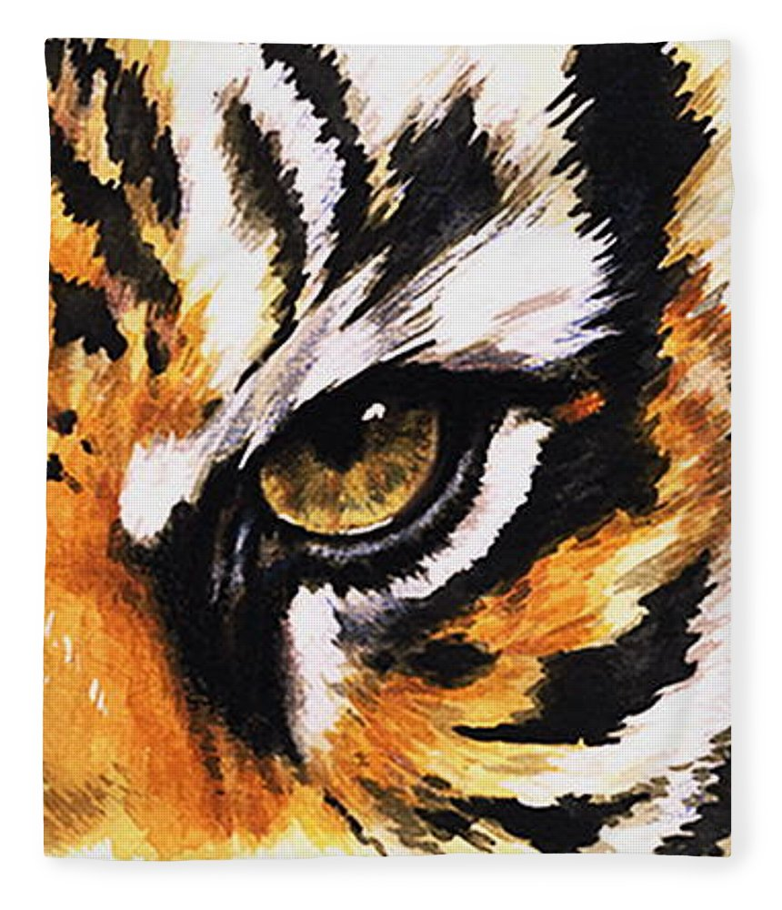 Feline Fleece Blanket featuring the mixed media Sumatran Tiger Glare by Barbara Keith