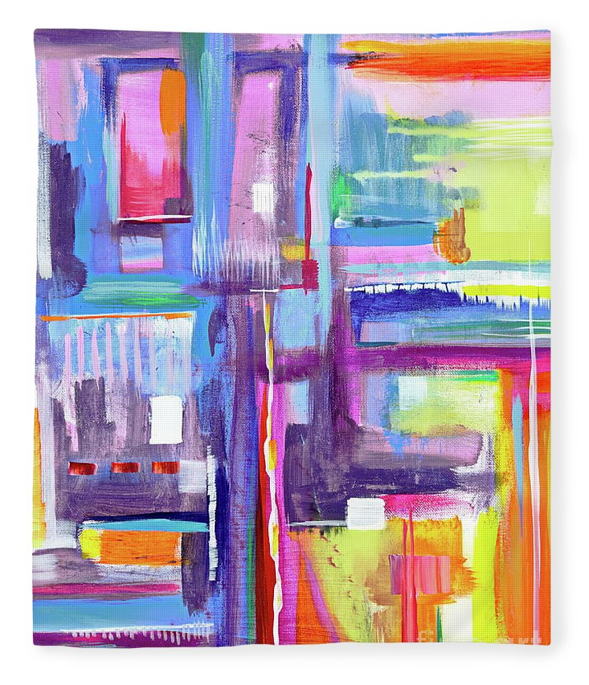 A Scape. New Series Begins Here.and The Title Eyedropper Fleece Blanket featuring the painting Eye Dropper by Priscilla Batzell Expressionist Art Studio Gallery
