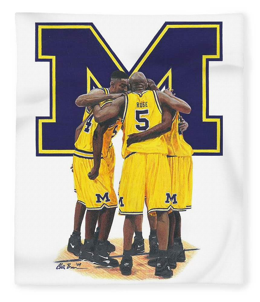 Michigan Wolverines Fleece Blanket featuring the drawing Fab Five by Chris Brown