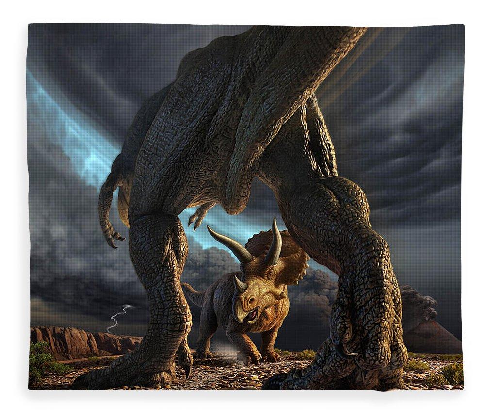 Dinosaur Fleece Blanket featuring the digital art Face Off by Jerry LoFaro