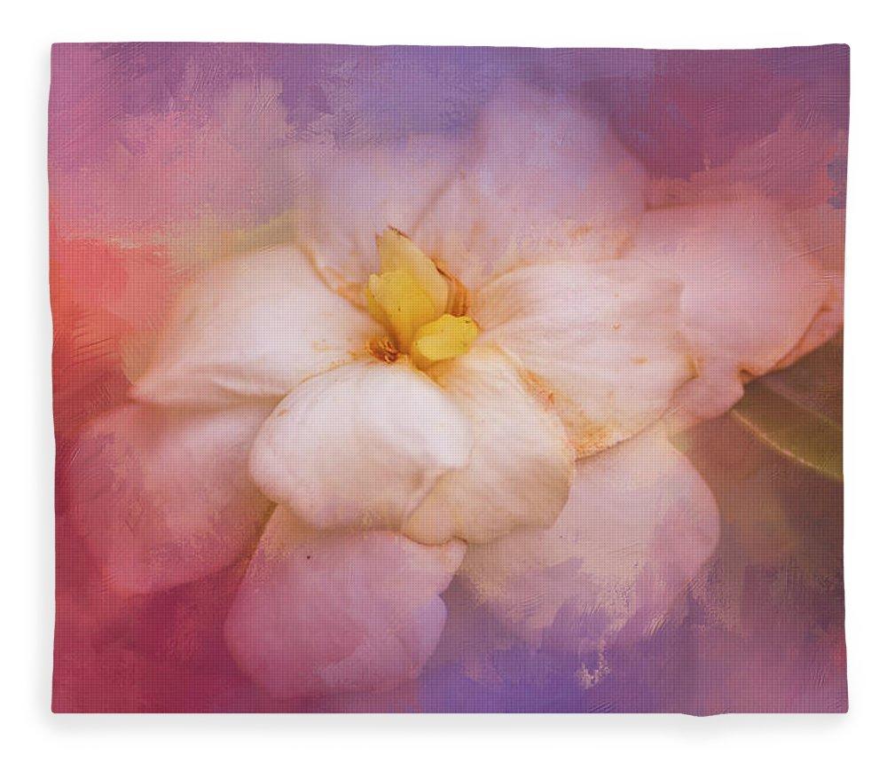 Jai Johnson Fleece Blanket featuring the photograph Fading Summer Flower by Jai Johnson