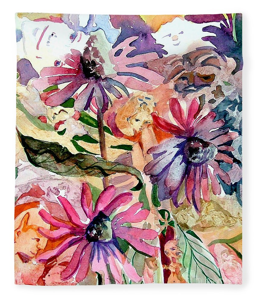 Daisy Fleece Blanket featuring the painting Fairy Land by Mindy Newman