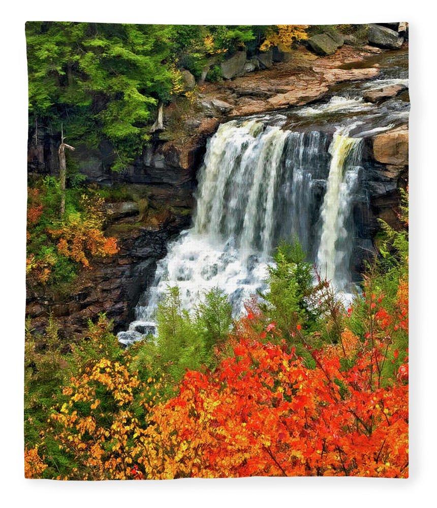 West Virginia Fleece Blanket featuring the photograph Fall Falls by Steve Harrington
