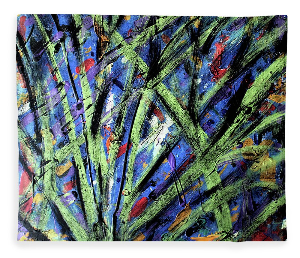 Abstract Fleece Blanket featuring the painting Fall Haze by Pam Roth O'Mara