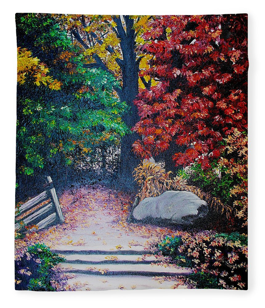 A N Original Painting Of An Autumn Scene In The Gateneau In Quebec Fleece Blanket featuring the painting Fall In Quebec Canada by Karin Dawn Kelshall- Best