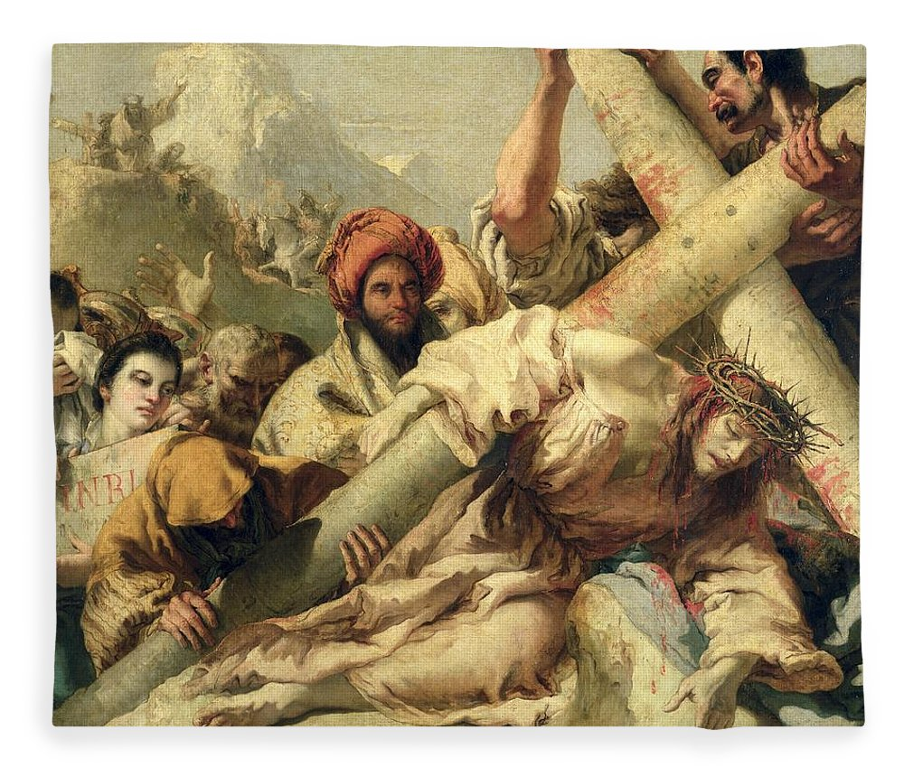 Christ's Fall On The Way To Calvary Fleece Blanket featuring the painting Fall On The Way To Calvary by G Tiepolo