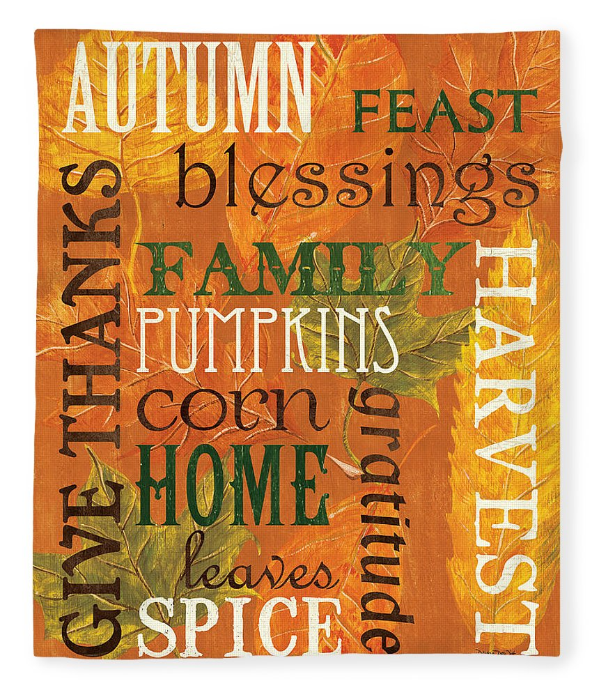 Fall Fleece Blanket featuring the painting Fall Typography 1 by Debbie DeWitt