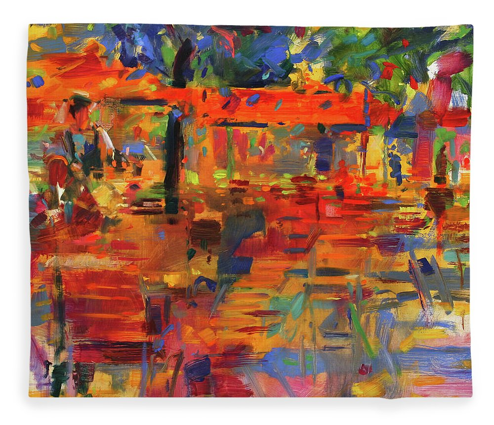 Cafe Fleece Blanket featuring the painting Falling Leaves, Paris by Peter Graham
