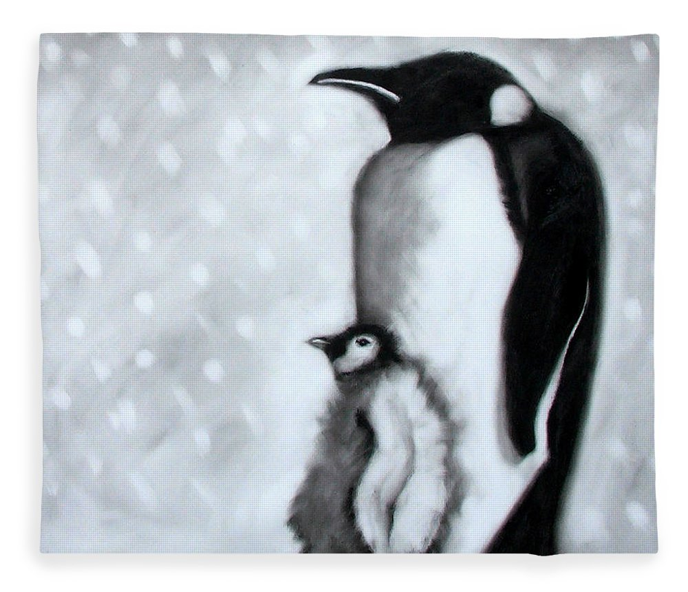 Penguin Fleece Blanket featuring the painting Father And Son by Paul Powis