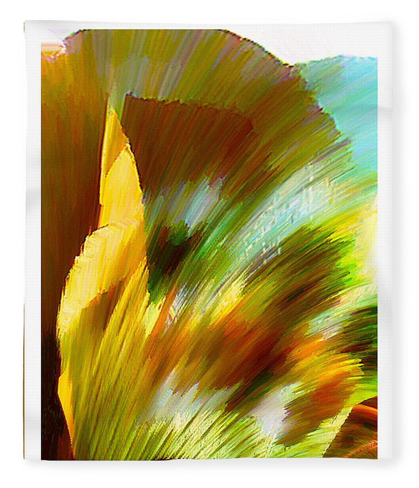 Landscape Digital Art Watercolor Water Color Mixed Media Fleece Blanket featuring the digital art Feather by Anil Nene