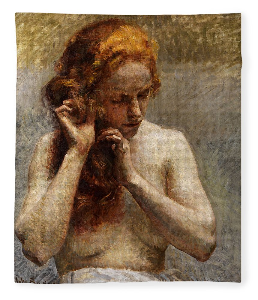 Vlaho Bukovac Fleece Blanket featuring the painting Female Nude with Red Hair by Vlaho Bukovac