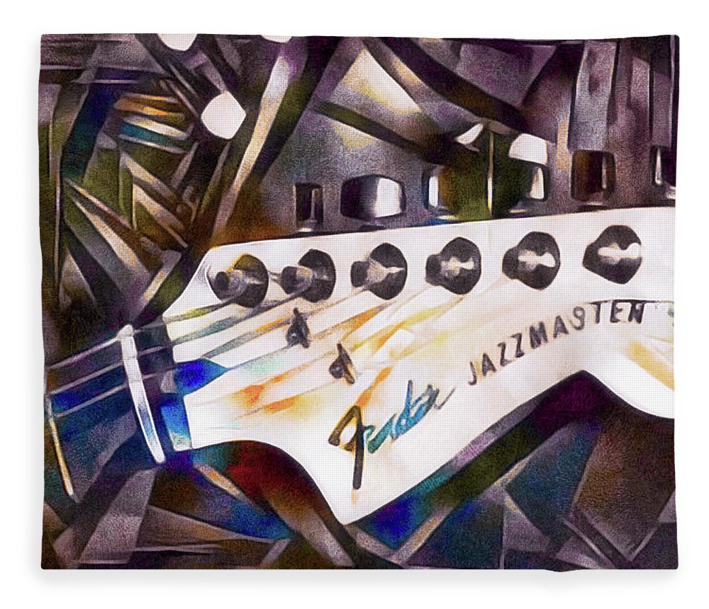 Jazzy Guitar Head Fleece Blanket featuring the mixed media Fender Jazzmaster by Susan Maxwell Schmidt