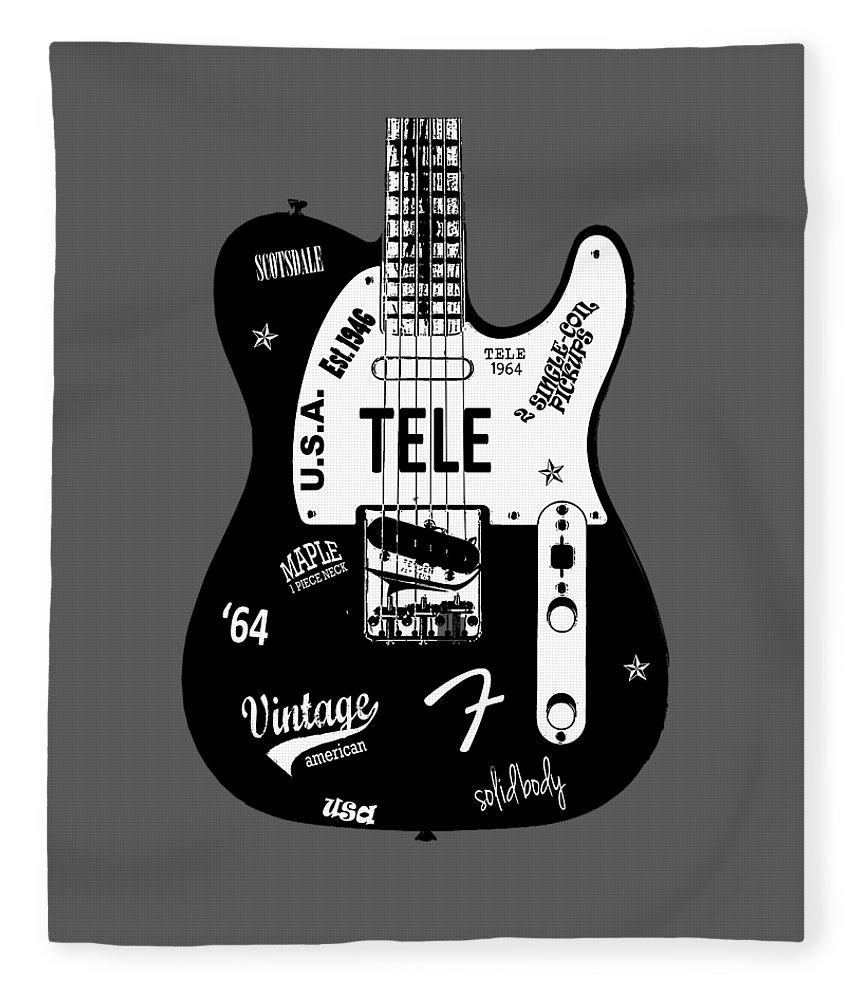 Fender Telecaster Fleece Blanket featuring the photograph Fender Telecaster 64 by Mark Rogan