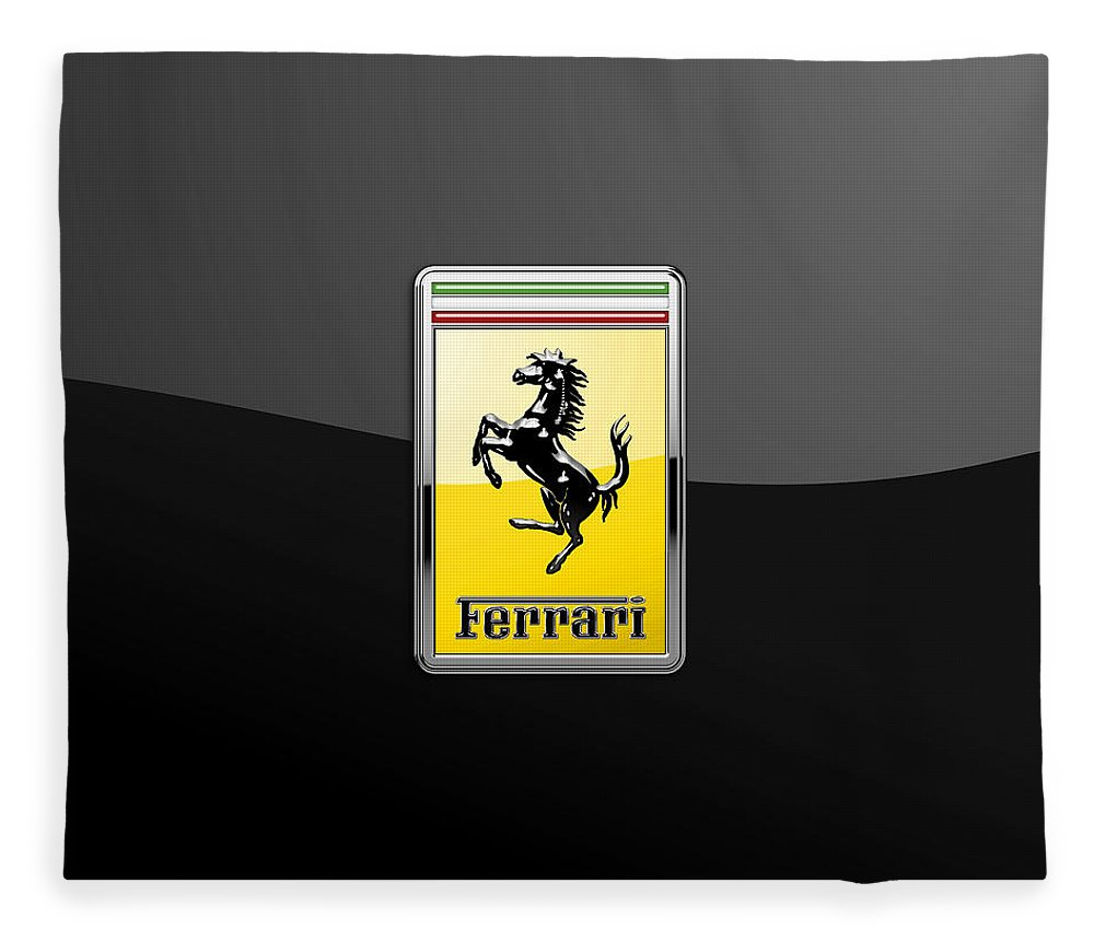 �auto Badges� Collection By Serge Averbukh Fleece Blanket featuring the photograph Ferrari 3D Badge- Hood Ornament on Black by Serge Averbukh