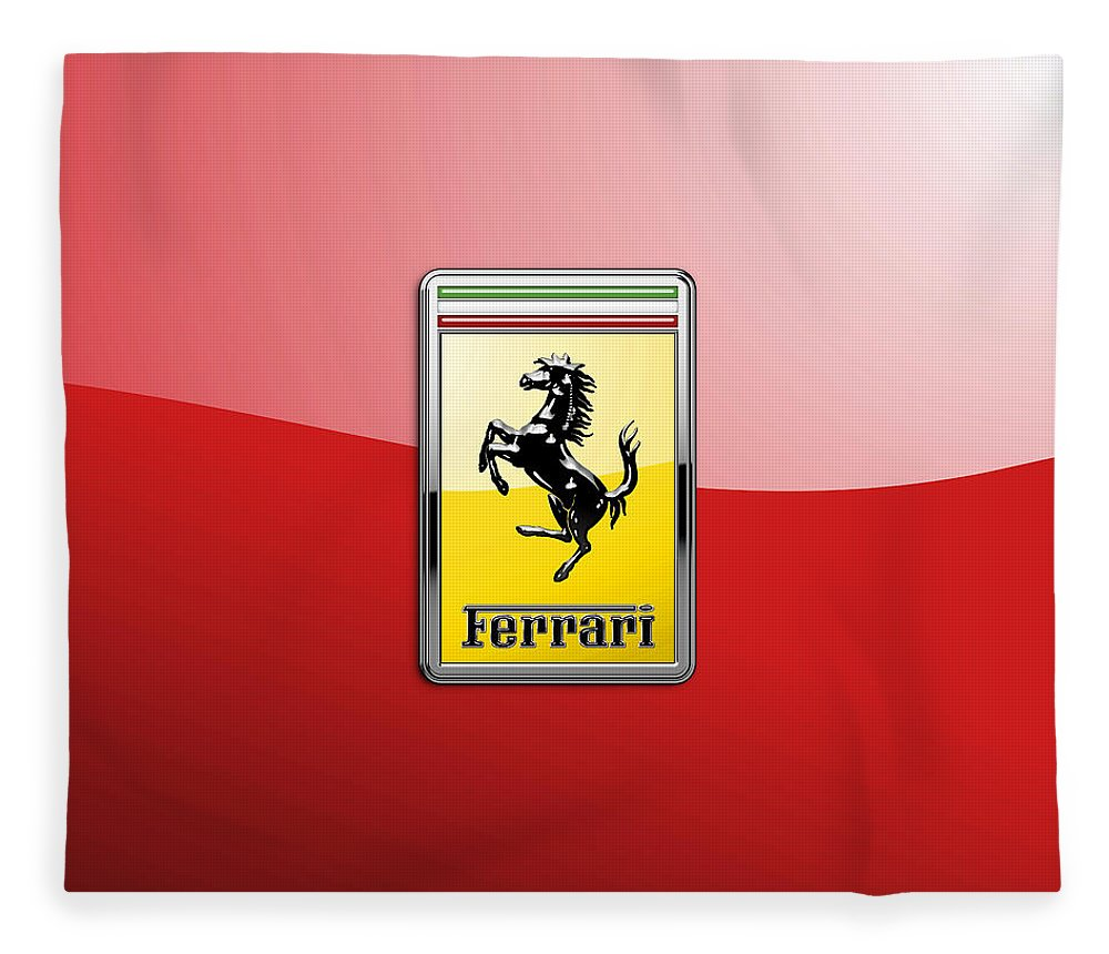 �auto Badges� Collection By Serge Averbukh Fleece Blanket featuring the photograph Ferrari 3d Badge-hood Ornament On Red by Serge Averbukh