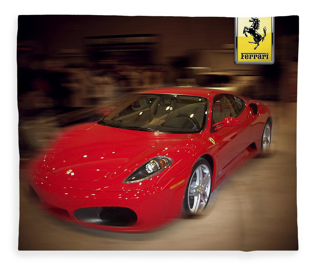 �auto Corner� Collection By Serge Averbukh Fleece Blanket featuring the photograph Ferrari F430 - The Red Beast by Serge Averbukh