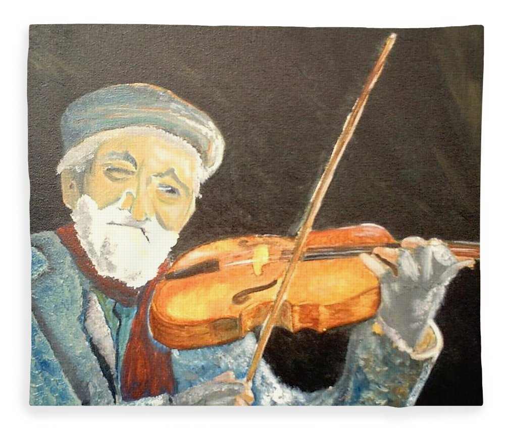 Hungry He Plays For His Supper Fleece Blanket featuring the painting Fiddler Blue by J Bauer