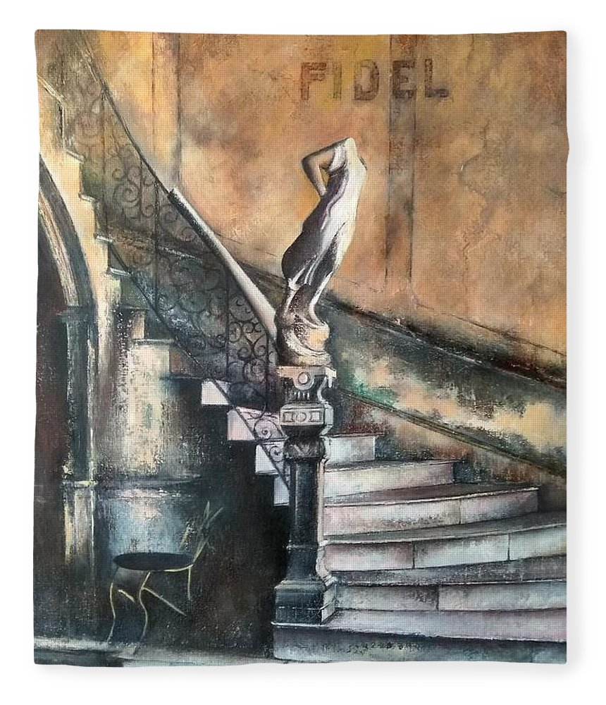 Old Havana Fleece Blanket featuring the painting Fidel by Tomas Castano