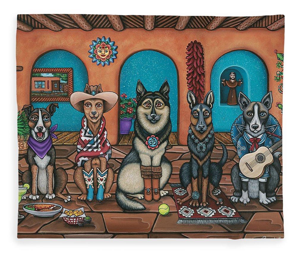 Dogs Fleece Blanket featuring the painting Fiesta Dogs by Douglas Jones
