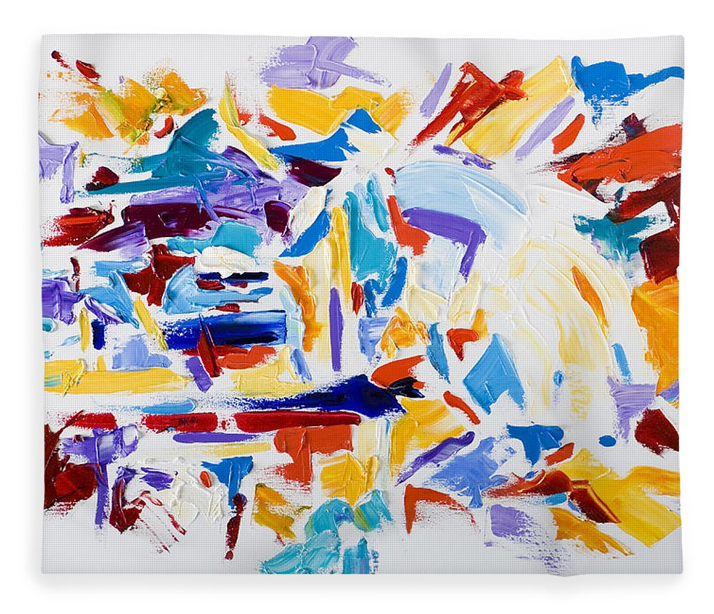 Abstract Yellow Fleece Blanket featuring the painting Fiesta by Shannon Grissom