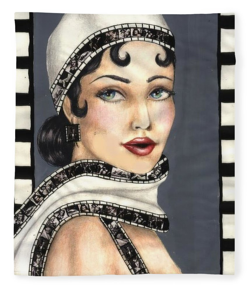 Portrait Fleece Blanket featuring the drawing Film 2 by Scarlett Royal