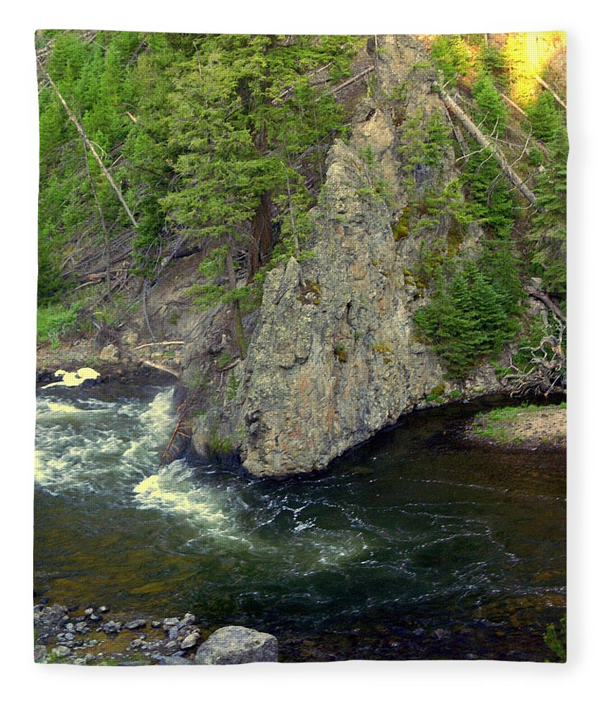 Firehole River Fleece Blanket featuring the photograph Fin On The Firehole by Marty Koch