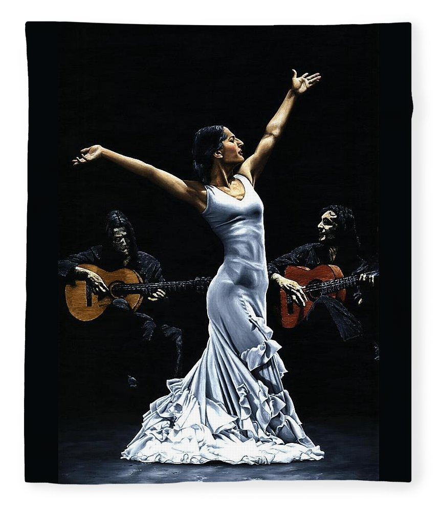 Flamenco Fleece Blanket featuring the painting Finale del Funcionamiento del Flamenco by Richard Young