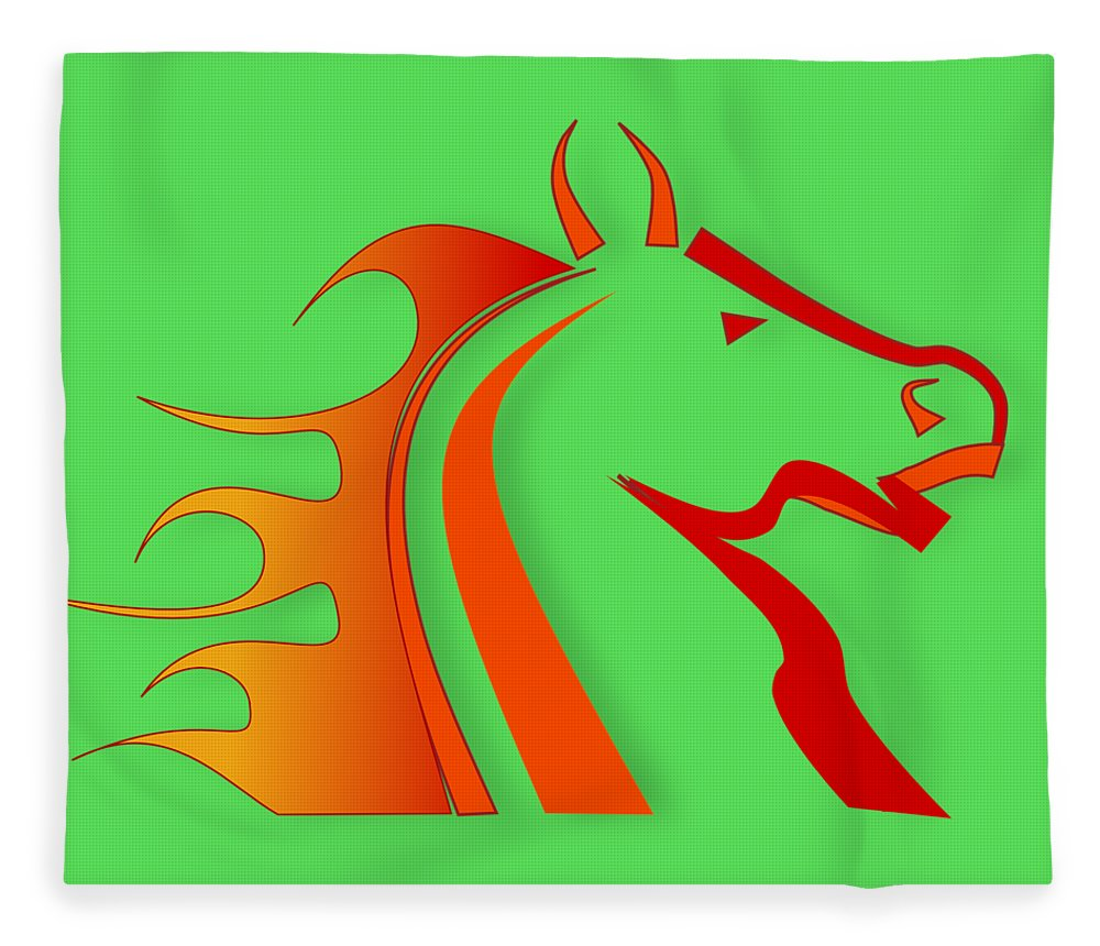 Horse Fleece Blanket featuring the digital art Fire Horse by Scott Davis