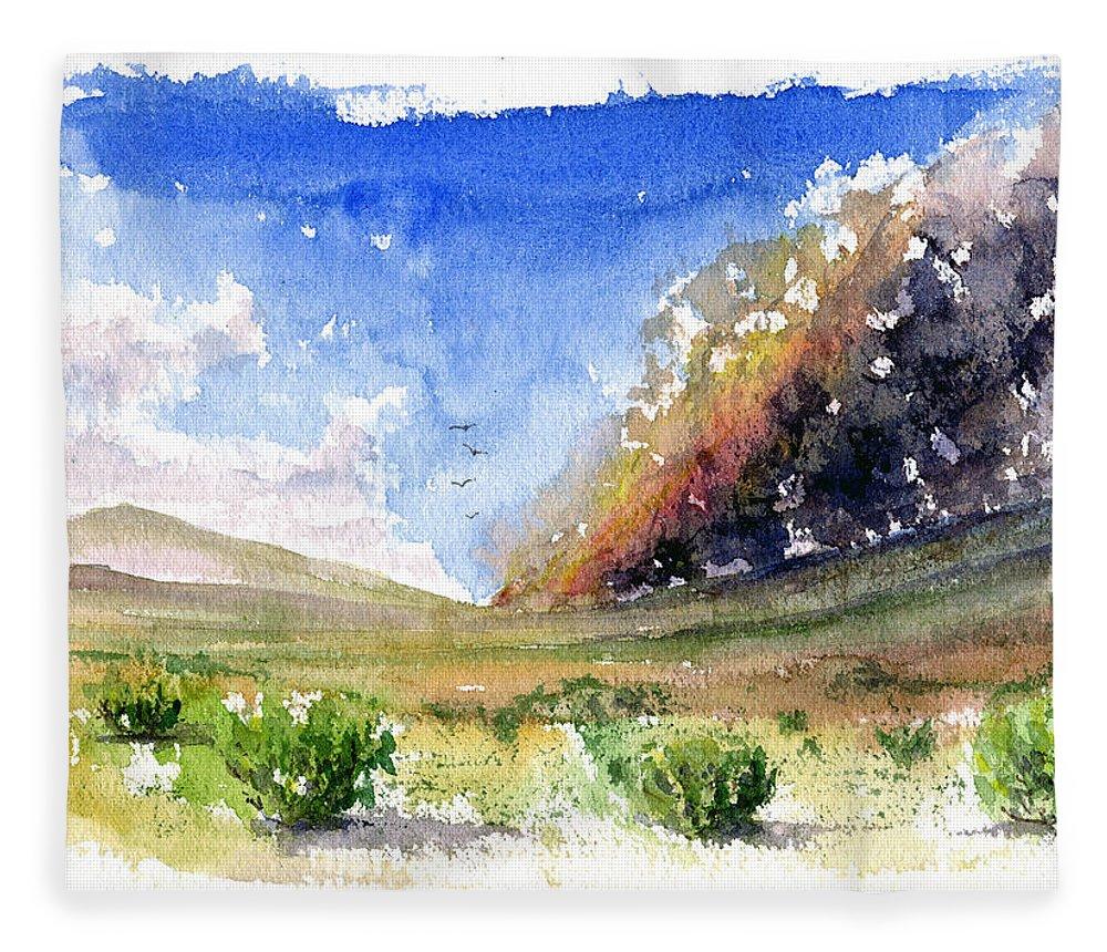 Fire Fleece Blanket featuring the painting Fire in the Desert 1 by John D Benson