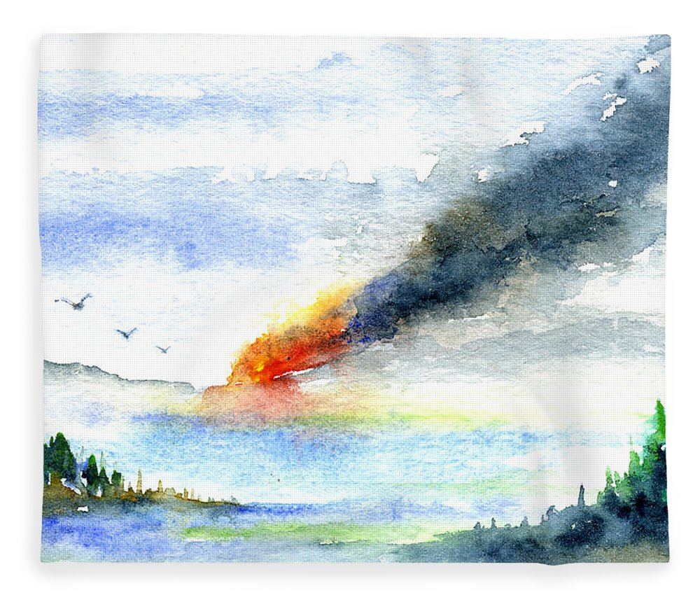 Fire Fleece Blanket featuring the painting Fire in the Mountains by John D Benson