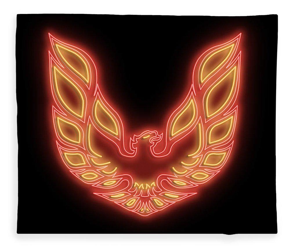 Pontiac Fleece Blanket featuring the digital art Firebird Neon Sign by Ricky Barnard