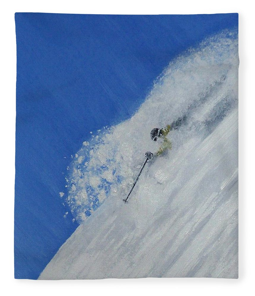 Ski Fleece Blanket featuring the painting First by Michael Cuozzo