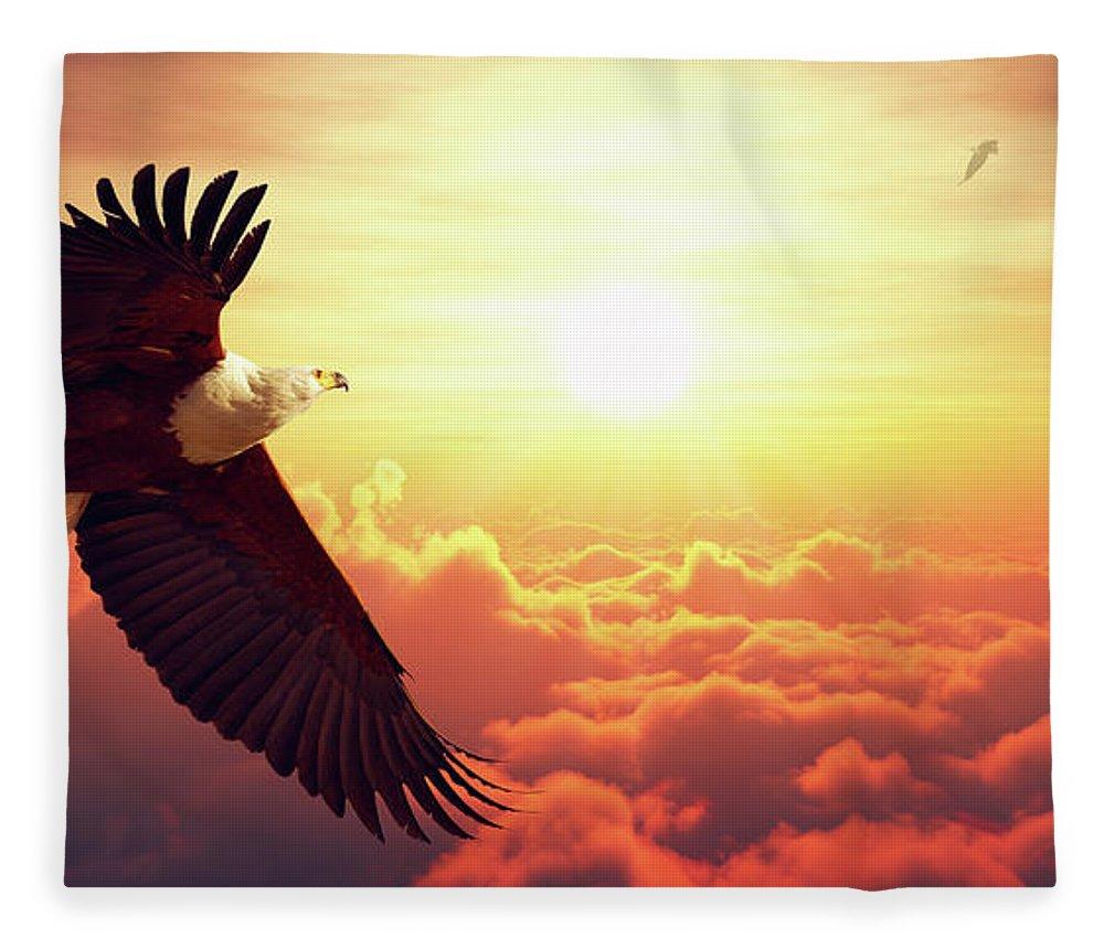 Fish Eagle Flying Above Clouds Fleece Blanket