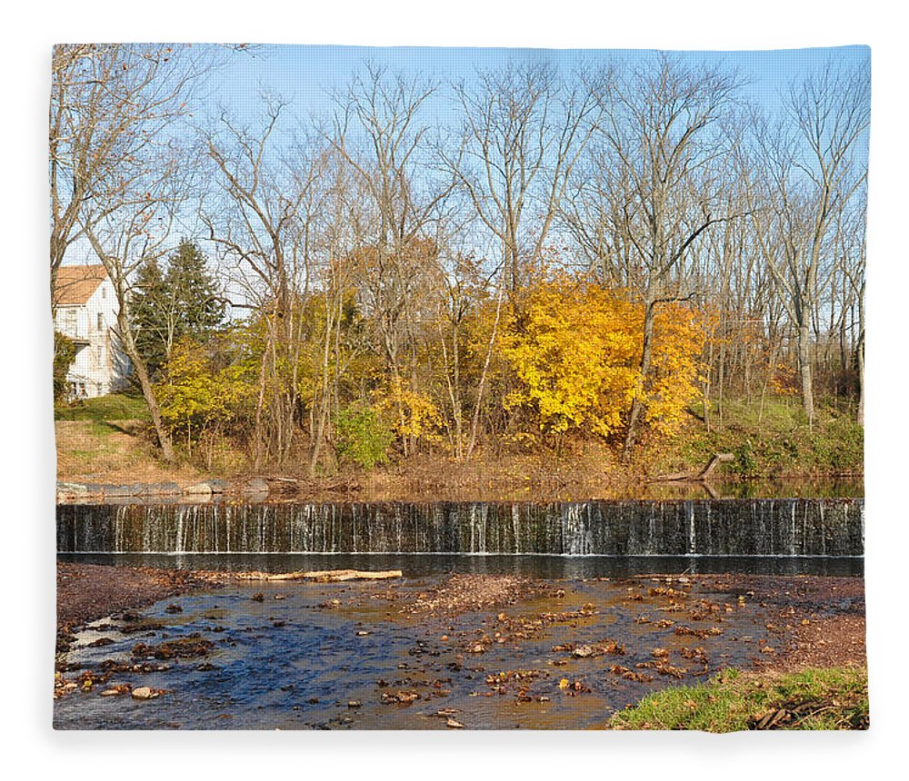 Fishers Fleece Blanket featuring the photograph Fishers Pool Waterfall - Montgomery County Pa by Bill Cannon