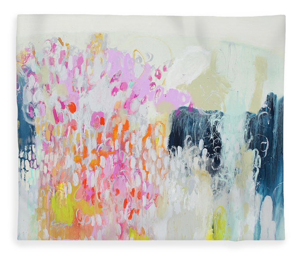Abstract Fleece Blanket featuring the painting Fizz by Claire Desjardins
